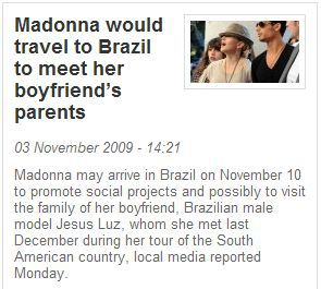 Madonna in Brazil on November 10 to support social projects and to meet Jesus Luz's parents
