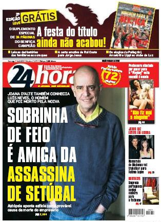 Jesus Luz on the cover of newspaper from Portugal ''24 Horas'', May 16
