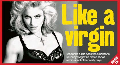 Madonna on the cover of UK newspaper ''Daily Record''