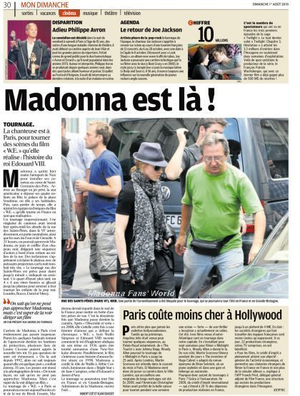 WE: Madonna on the cover of French newspaper ''Aujourd'hui en France''