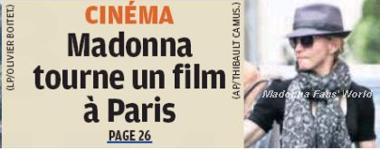 Madonna on the cover of French newspaper ''Aujourd'hui en France''