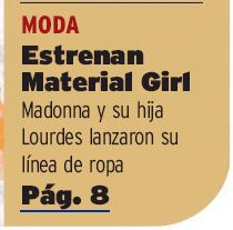 Madonna's Material Girl Collection mentioned on cover of U.S newspaper