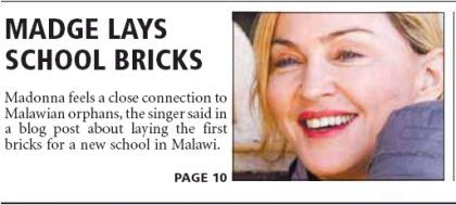 Madonna on the cover of South African newspaper ''The Citizen'', April 7, 2010