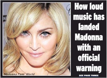 Madonna's loud party affair on the cover of ''Daily Express''