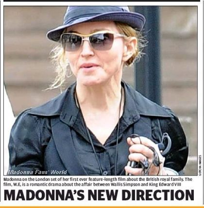 Madonna on the set of ''W.E.'' on the cover of ''Evening Standard''