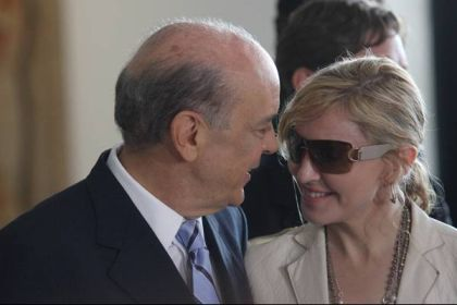 Madonna and Sao Paulo Governor José Serra on February 10, 2010