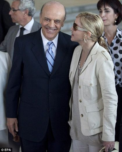 Madonna met with Sao Paulo Governor Jose Serra in Sao Paulo to discuss helping needy Brazilian children