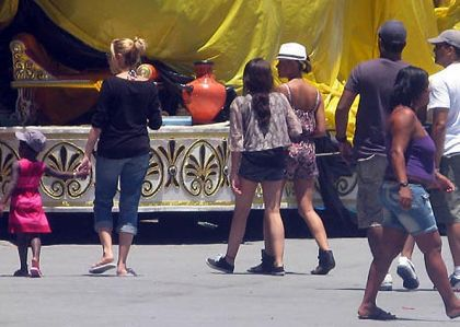 Madonna's daughters visit Cidade do Samba in Rio on Feb. 11, 2010