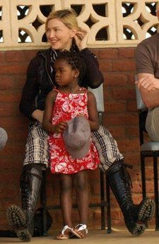 Madonna with her adopted daughter Mercy James during a visit to Gumulira Millennium villages in Mchinji, Malawi on April 5, 2010