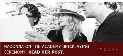 Madonna on the Academy Bricklaying Ceremony
