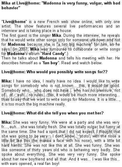 Mika at Live@home: ''Madonna is very funny, vulgar, with bad behavior''