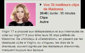 Special Madonna on French TV channel Virgin 17 on April 11, 2010