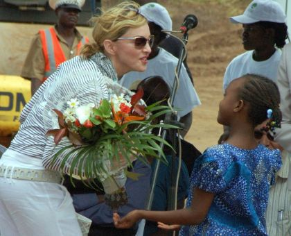 Photos: Madonna at Bricklaying Ceremony for Girls Academy on April 6, 2010