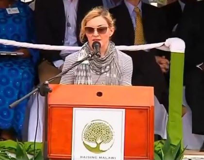 Video: Madonna lays first brick of school in Malawi