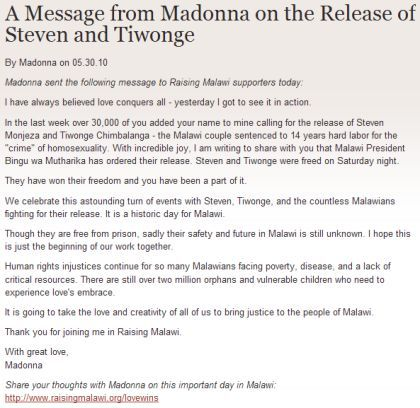 A Message from Madonna on the Release of Steven and Tiwonge