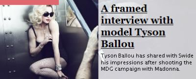 Tyson Ballou: ''To work with Madonna was a great surprise''