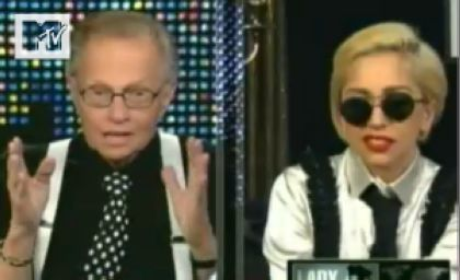 Lady Gaga talks to US chat show host Larry King
