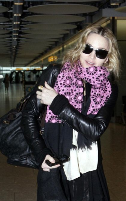 Madonna arriving into London's Heathrow airport on June 10, 2010
