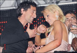 Paris Hilton with Adrien Brody in Cannes