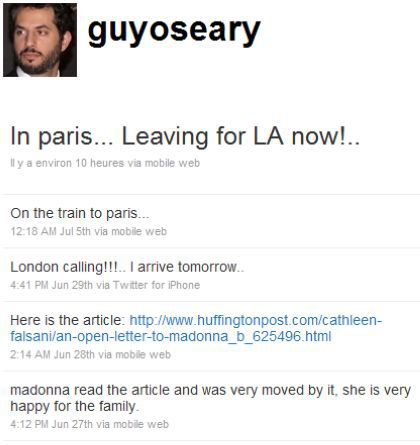 Guy Oseary: ''Madonna very moved by Cathleen Falsani's open letter''