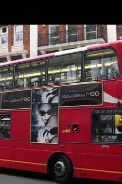 Madonna's MDG Sunglasses ad on a bus in London