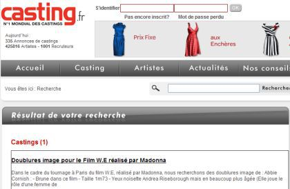 Casting for Madonna's ''W.E.'': Shooting on July 31 and August 1, 2010