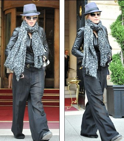Madonna certainly wears the pants as she leaves her hotel in Paris on Saturday