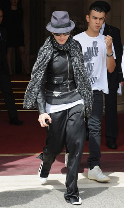 Madonna leaves hotel in Paris on August 1, 2010 to shoot ''W.E.''