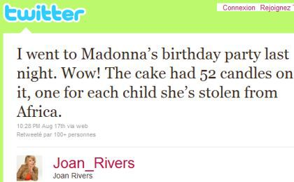Joan Rivers mocks Madonna, calls her 'old' on Twitter