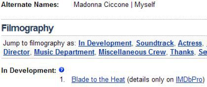 New movie in development for Madonna: ''Blade to the Heat'' (2012)