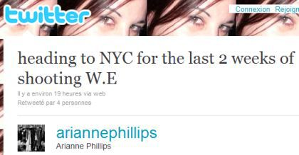 Arianne Phillips: ''in NYC for the last 2 weeks of shooting W.E.''