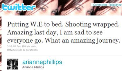 Arianne Phillips on Madonna's ''W.E.'': ''Shooting wrapped''
