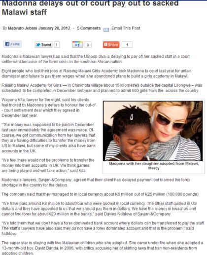 Madonna delays out of court pay out to sacked Malawi staff