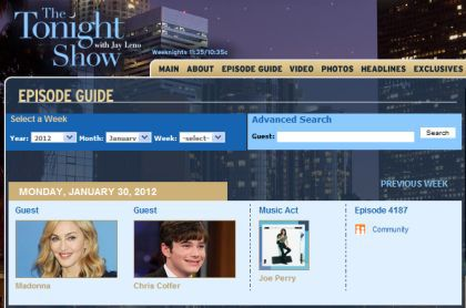 Madonna on ''The Tonight Show with Jay Leno'' on January 30, 2012