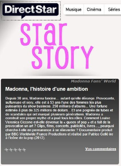 Unseen Documentary on Madonna on French TV channel Direct Star on March 25, 2012