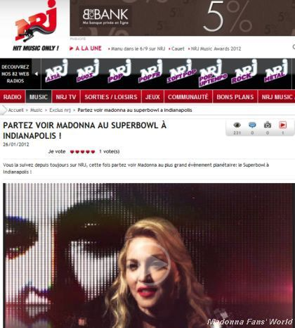 Go and see Madonna at Superbowl in Indianapolis with NRJ