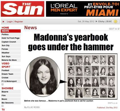 Madonna's school yearbook and DSS boxer shorts on auction on June 12, 2012