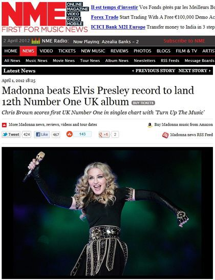 Madonna beats Elvis Presley record to land 12th Number One UK album
