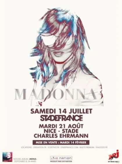 Madonna announces concert at Stade de France on NRJ