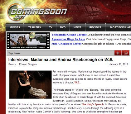 Interview with Madonna by ComingSoon.net - January 31, 2012