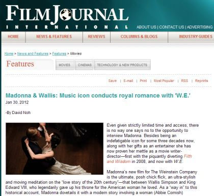 Interview with Madonna by Film Journal - January 30, 2012