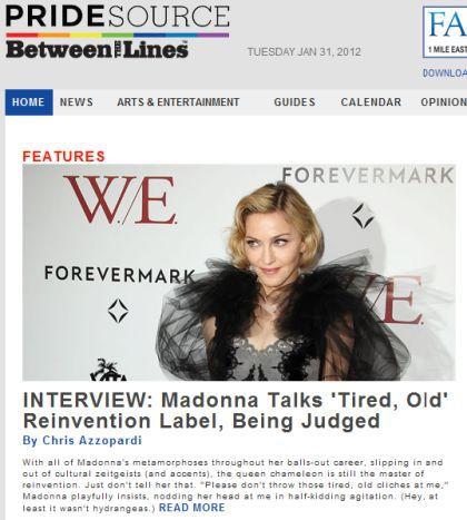 Interview with Madonna by PrideSource - January 31, 2012