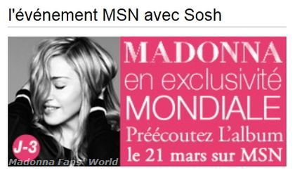 Listen to Madonna's new album ''MDNA'' on March 21, 2012 on MSN