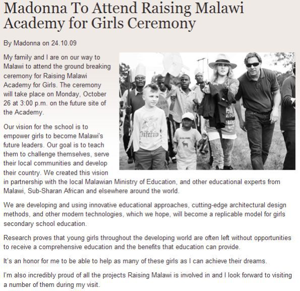 Madonna To Attend Raising Malawi Academy for Girls Ceremony