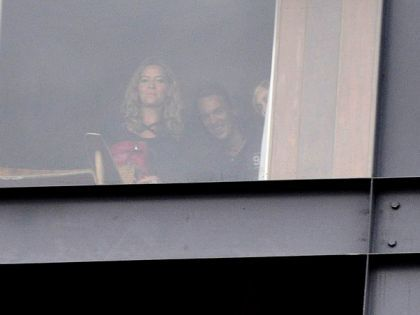 Madonna appears behind the window at Hotel Fasano in Rio, Brazil on Nov. 11, 2009