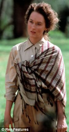 Retro: Madonna wore a shawl for the laying of the stone, reminiscent of Meryl Streep's wardrobe in her 1985 film, Out Of Africa