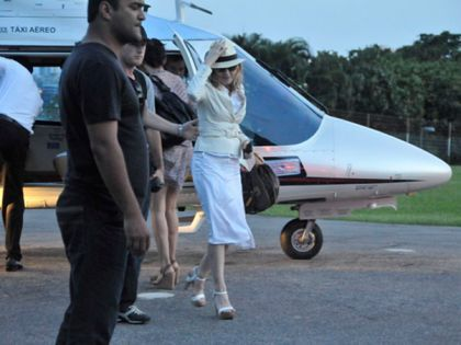 After being at Eike Batista's house in Angra dos Reis, Madonna goes back to Rio, Brazil on Nov. 14, 2009