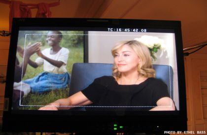 Photos from the set of Madonna's interview in American Morning 'Big Stars, Big Giving' on CNN on Dec. 23, 2009