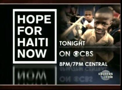 Hope For Haiti Now tonight on CBS