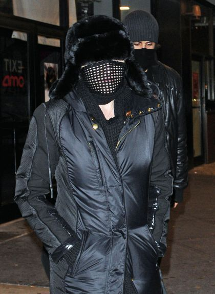 Madonna and Jesus Luz leaving the cinema after seeing ''Avatar'' in NY